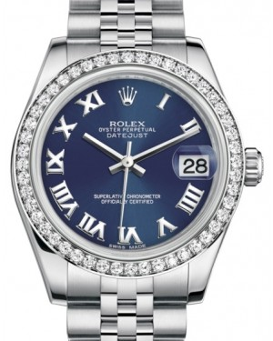 Rolex Datejust 31 Lady Midsize White Gold/Steel Blue Roman Dial & Diamond Bezel Jubilee Bracelet 178384 - BRAND NEW