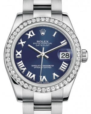 Rolex Datejust 31 Lady Midsize White Gold/Steel Blue Roman Dial & Diamond Bezel Oyster Bracelet 178384 - BRAND NEW