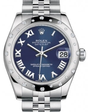 Rolex Datejust 31 Lady Midsize White Gold/Steel Blue Roman Dial & Diamond Set Domed Bezel Jubilee Bracelet 178344 - BRAND NEW