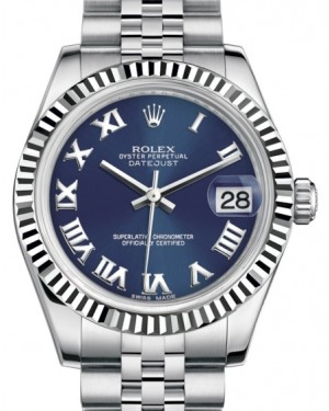 Rolex Datejust 31 Lady Midsize White Gold/Steel Blue Roman Dial & Fluted Bezel Jubilee Bracelet 178274 - BRAND NEW