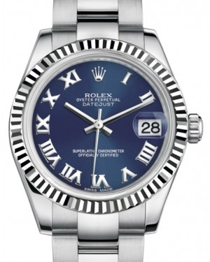 Rolex Datejust 31 Lady Midsize White Gold/Steel Blue Roman Dial & Fluted Bezel Oyster Bracelet 178274 - BRAND NEW