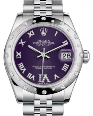 Rolex Datejust 31 Lady Midsize White Gold/Steel Purple Roman Diamond VI Dial & Diamond Set Domed Bezel Jubilee Bracelet 178344 - BRAND NEW