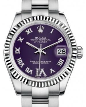 Rolex Datejust 31 Lady Midsize White Gold/Steel Purple Roman Diamond VI Dial & Fluted Bezel Oyster Bracelet 178274 - BRAND NEW
