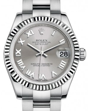 Rolex Datejust 31 Lady Midsize White Gold/Steel Rhodium Roman Dial & Fluted Bezel Oyster Bracelet 178274 - BRAND NEW