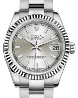 Rolex Datejust 31 Lady Midsize White Gold/Steel Silver Index Dial & Fluted Bezel Oyster Bracelet 178274 - BRAND NEW