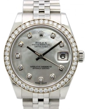 Rolex Datejust 31 Lady Midsize White Gold/Steel Factory White Mother of Pearl Diamond Dial & Diamond Bezel Jubilee Bracelet 178384 - PRE-OWNED