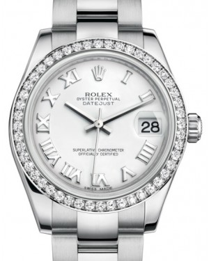 Rolex Datejust 31 Lady Midsize White Gold/Steel White Roman Dial & Diamond Bezel Oyster Bracelet 178384 - BRAND NEW