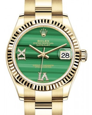 Rolex Datejust 31 Lady Midsize Yellow Gold Green Malachite VI IX Diamond Dial & Fluted Bezel Oyster Bracelet 278278 - BRAND NEW