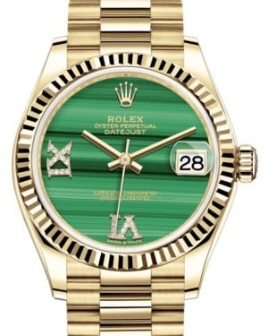 Rolex Datejust 31 Lady Midsize Yellow Gold Green Malachite VI IX Diamond Dial & Fluted Bezel President Bracelet 278278 - BRAND NEW