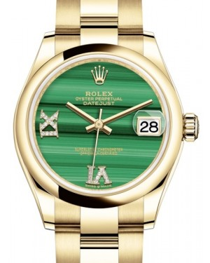 Rolex Datejust 31 Lady Midsize Yellow Gold Green Malachite VI IX Diamond Dial & Smooth Domed Bezel Oyster Bracelet 278248 - BRAND NEW
