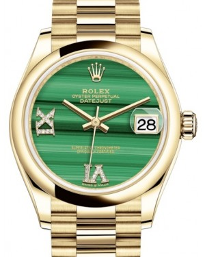 Rolex Datejust 31 Lady Midsize Yellow Gold Green Malachite VI IX Diamond Dial & Smooth Domed Bezel President Bracelet 278248 - BRAND NEW