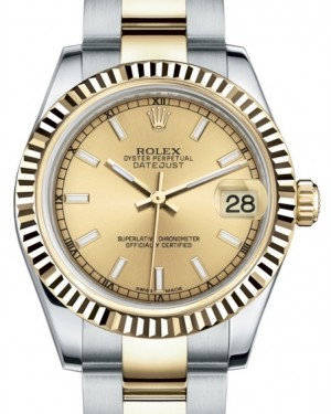 Rolex Datejust 31 Lady Midsize Yellow Gold/Steel Champagne Index Dial & Fluted Bezel Oyster Bracelet 178273 - BRAND NEW