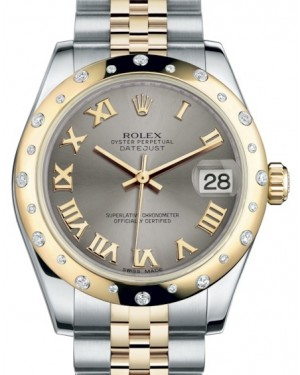 Rolex Datejust 31 Lady Midsize Yellow Gold/Steel Steel Roman Dial & Diamond Set Domed Bezel Jubilee Bracelet 178343 - BRAND NEW