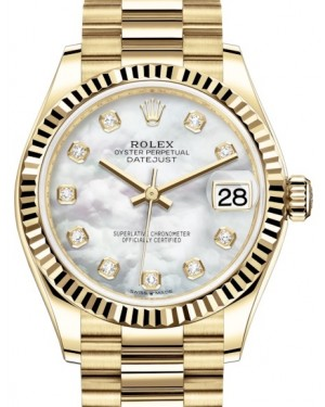 Rolex Datejust 31 Lady Midsize Yellow Gold White Mother of Pearl Diamond Dial & Fluted Bezel President Bracelet 278278 - BRAND NEW
