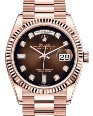 Rolex Day-Date 36 Rose Gold Brown Ombre Diamond Dial & Fluted Bezel President Bracelet 128235 - BRAND NEW