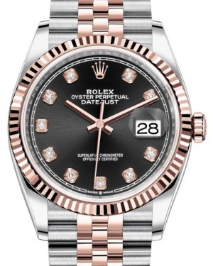 Rolex Datejust 36 Rose Gold/Steel Black Diamond Dial & Fluted Bezel Jubilee Bracelet 126231 - BRAND NEW
