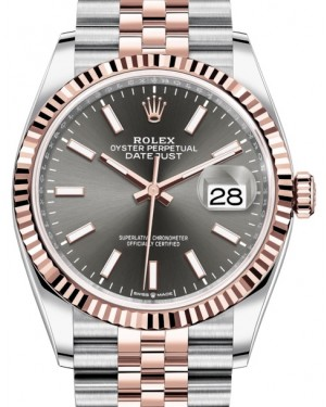 Rolex Datejust 36 Rose Gold/Steel Dark Rhodium Index Dial & Fluted Bezel Jubilee Bracelet 126231 - BRAND NEW