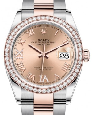 Rolex Datejust 36 Rose Gold/Steel Rose Roman Diamond VI Dial & Diamond Bezel Oyster Bracelet 126281RBR - BRAND NEW