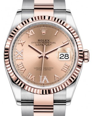 Rolex Datejust 36 Rose Gold/Steel Rose Roman Diamond VI Dial & Fluted Bezel Oyster Bracelet 126231 - BRAND NEW
