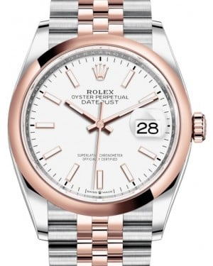 Rolex Datejust 36 Rose Gold/Steel White Index Dial & Domed Bezel Jubilee Bracelet 126201 - BRAND NEW