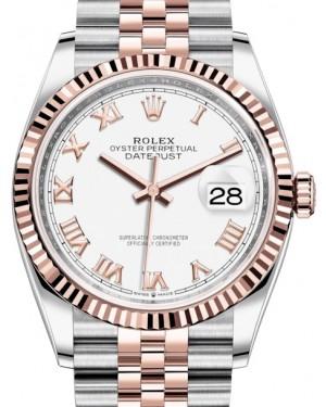 Rolex Datejust 36 Rose Gold/Steel White Roman Dial & Fluted Bezel Jubilee Bracelet 126231 - BRAND NEW