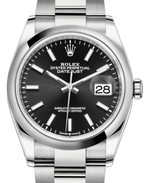 Rolex Datejust 36 Stainless Steel Black Index Dial & Smooth Domed Bezel Oyster Bracelet 126200 - BRAND NEW
