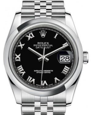 Rolex Datejust 36 Stainless Steel Black Roman Dial & Smooth Domed Bezel Jubilee Bracelet 116200 - BRAND NEW