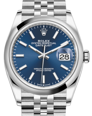 Rolex Datejust 36 Stainless Steel Blue Index Dial & Smooth Domed Bezel Jubilee Bracelet 126200 - BRAND NEW
