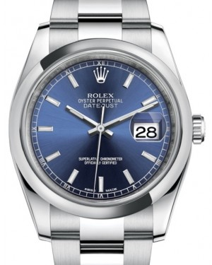 Rolex Datejust 36 Stainless Steel Blue Index Dial & Smooth Domed Bezel Oyster Bracelet 116200 - BRAND NEW