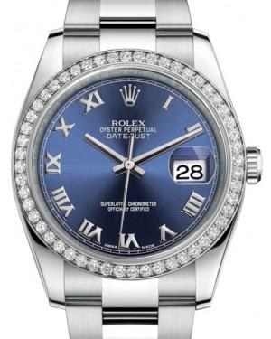 Rolex Datejust 36 White Gold/Steel Blue Roman Dial & Diamond Bezel Oyster Bracelet 116244 - BRAND NEW