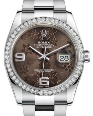 Rolex Datejust 36 White Gold/Steel Bronze Floral Motif Arabic Dial & Diamond Bezel Oyster Bracelet 116244 - BRAND NEW