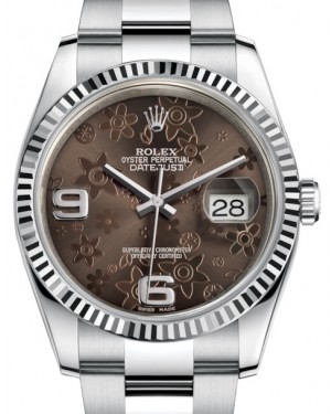 Rolex Datejust 36 White Gold/Steel Bronze Floral Motif Arabic Dial & Fluted Bezel Oyster Bracelet 116234 - BRAND NEW