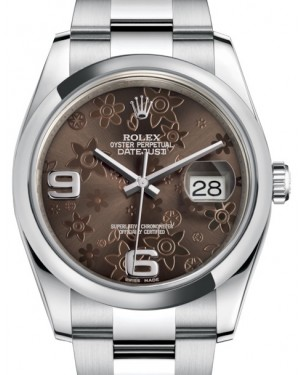 Rolex Datejust 36 Stainless Steel Bronze Floral Motif Arabic Dial & Smooth Domed Bezel Oyster Bracelet 116200 - BRAND NEW