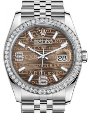 Rolex Datejust 36 White Gold/Steel Bronze Waves Diamond Dial & Diamond Bezel Jubilee Bracelet 116244 - BRAND NEW