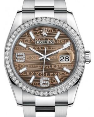 Rolex Datejust 36 White Gold/Steel Bronze Waves Diamond Dial & Diamond Bezel Oyster Bracelet 116244 - BRAND NEW