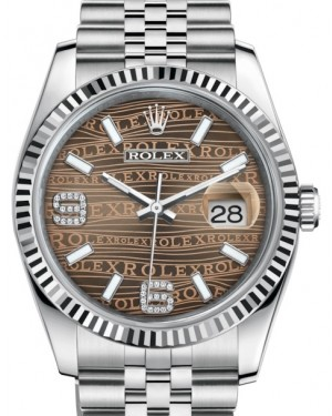 Rolex Datejust 36 White Gold/Steel Bronze Waves Diamond Dial & Fluted Bezel Jubilee Bracelet 116234 - BRAND NEW