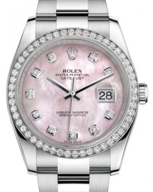 Rolex Datejust 36 White Gold/Steel Pink Mother of Pearl Diamond Dial & Diamond Bezel Oyster Bracelet 116244 - BRAND NEW