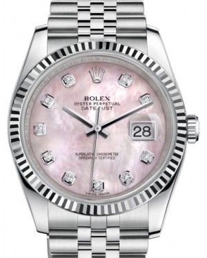Rolex Datejust 36 White Gold/Steel Pink Mother of Pearl Diamond Dial & Fluted Bezel Jubilee Bracelet 116234 - BRAND NEW