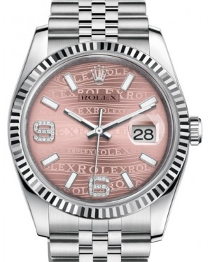 Rolex Datejust 36 White Gold/Steel Pink Waves Diamond Dial & Fluted Bezel Jubilee Bracelet 116234 - BRAND NEW