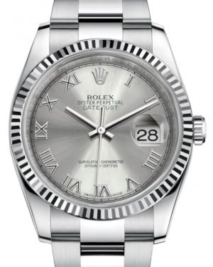 Rolex Datejust 36 White Gold/Steel Rhodium Roman Dial & Fluted Bezel Oyster Bracelet 116234 - BRAND NEW