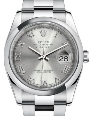 Rolex Datejust 36 Stainless Steel Rhodium Roman Dial & Smooth Domed Bezel Oyster Bracelet 116200 - BRAND NEW