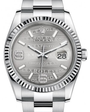 Rolex Datejust 36 White Gold/Steel Rhodium Waves Diamond Dial & Fluted Bezel Oyster Bracelet 116234 - BRAND NEW