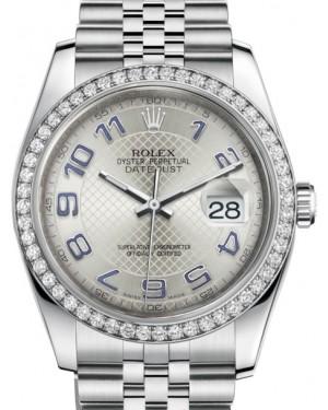 Rolex Datejust 36 White Gold/Steel Silver Diagonal Motif Arabic Dial & Diamond Bezel Jubilee Bracelet 116244 - BRAND NEW