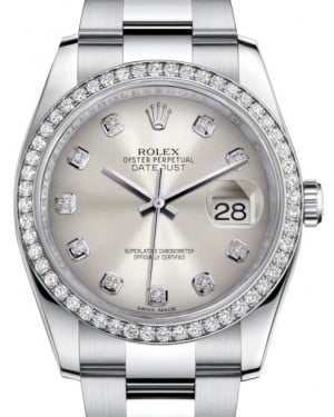 Rolex Datejust 36 White Gold/Steel Silver Diamond Dial & Diamond Bezel Oyster Bracelet 116244 - BRAND NEW