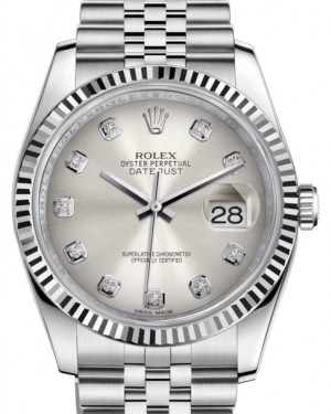 Rolex Datejust 36 White Gold/Steel Silver Diamond Dial & Fluted Bezel Jubilee Bracelet 116234 - BRAND NEW