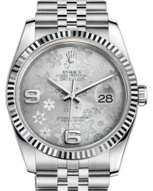 Rolex Datejust 36 White Gold/Steel Silver Floral Motif Arabic Dial & Fluted Bezel Jubilee Bracelet 116234 - BRAND NEW