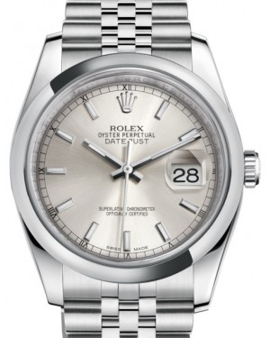 Rolex Datejust 36 Stainless Steel Silver Index Dial & Smooth Domed Bezel Jubilee Bracelet 116200 - BRAND NEW