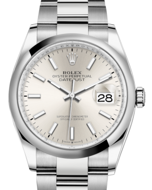 Rolex Datejust 36 Stainless Steel Silver Index Dial & Smooth Domed Bezel Oyster Bracelet 126200 - BRAND NEW
