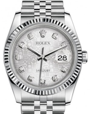 Rolex Datejust 36 White Gold/Steel Silver Jubilee Diamond Dial & Fluted Bezel Jubilee Bracelet 116234 - BRAND NEW