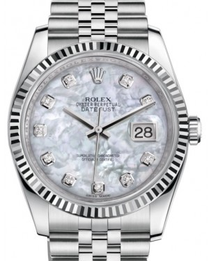 Rolex Datejust 36 White Gold/Steel White Mother of Pearl Diamond Dial & Fluted Bezel Jubilee Bracelet 116234 - BRAND NEW